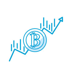 silhouette financial arrow up to bitcoin currency vector image