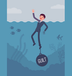 businessman drowning chained with a weight guilt vector image vector image