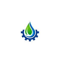 water drop ecology gear nature logo vector image vector image