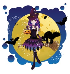 Witch and Full Moon3 vector image vector image
