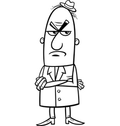 angry man cartoon coloring page vector image vector image