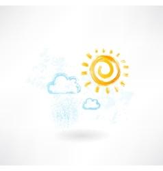 cloud sun grunge icon vector image