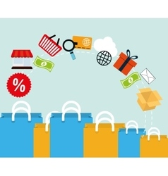 differents bag gift yellow and blue offer media vector image