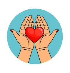 hands and heart icon vector image