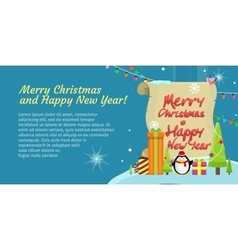Merry Christmas and Happy New Year Colorful Banner vector image vector image
