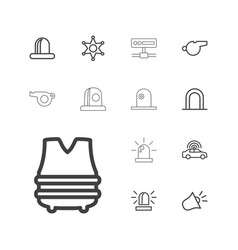 13 police icons vector