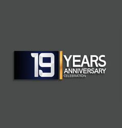 19 years anniversary logotype with blue vector