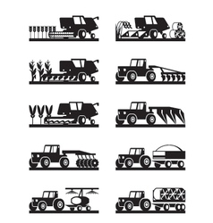 Agricultural machinery in field vector