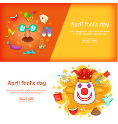 april fools day banner set template cartoon style vector image