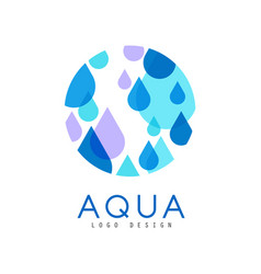 aqua logo design brand identity template with vector image
