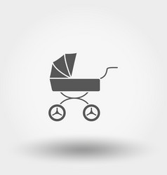 Baby carriage icon silhouette flat vector