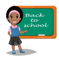 Back to school cute afro-american girl standing vector
