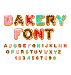 Bakery font donut abc baked in oil letters vector