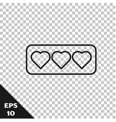 Black line like and heart icon isolated vector