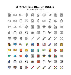 Branding and design outline colored icons vector