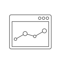 browser window with chart line icon vector image
