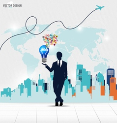 Businessman showing idea light bulb with cloud of vector image