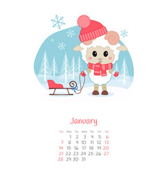 Calendar 2018 months january with sheep vector