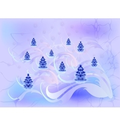Card with Christmas trees in cool shades EPS10 vector image