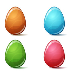 cartoon four color egg on the white bckground vector image
