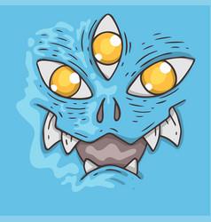 Cartoon monster face halloween vector