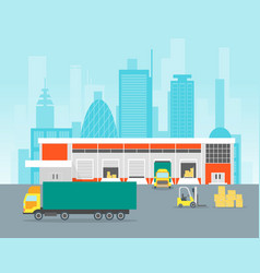 cartoon warehouse distribution logistics vector image