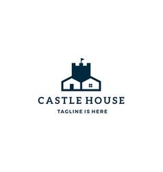 Castle house real estate logo icon template vector