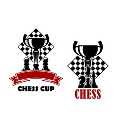 Chess game icons with cup and chessmen vector image