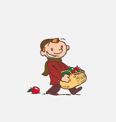 Child with large basket of apples vector