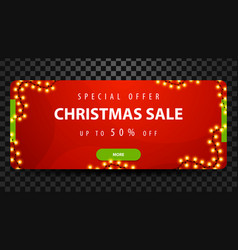 christmas sale up to 50 off red bright horizontal vector image