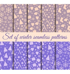 Christmas seamless patterns Set vector