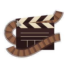 Cinema clapperboard and film movie flat vector