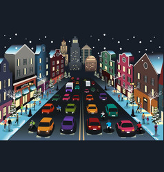 city scene with traffic at night vector image