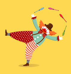 clown juggling with clubs vector image