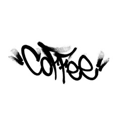 Coffee sprayed lettering made in black paint on a vector