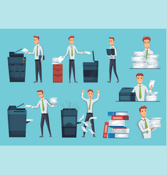 collection office documents copiers office vector image