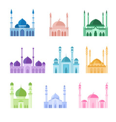 Colorful mosque buildings icons set vector