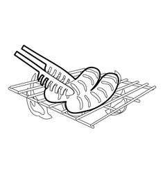 Cooking sausage on bbq icon outline vector
