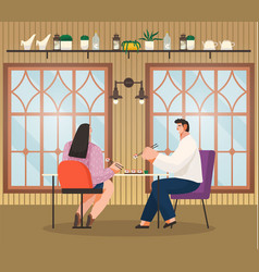 couple eating out in sushi bar japanese food vector image