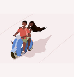 Couple riding motorcycle scooter african woman man vector