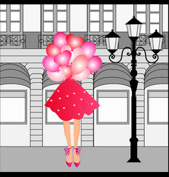 cute curly girl with balloons vector image