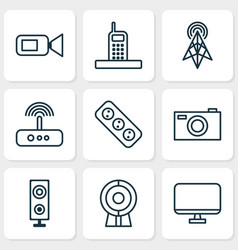 Device icons set with screen antenna modem and vector