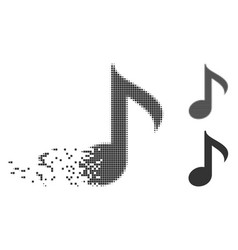 Dissipated pixel halftone musical note icon vector