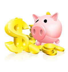 dollar sign piggy bank vector image