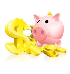Dollar sign piggy bank vector