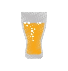 Drawing colored glass cup beer bubbles vector
