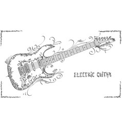 Drawing electric guitar vector