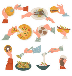 eating italian and american cuisine dishes with vector image