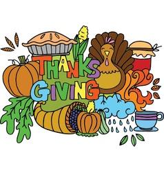 Element thanksgiving of doodle art vector