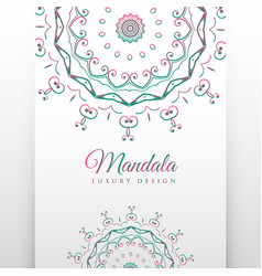 ethnic white background with mandala decoration vector image